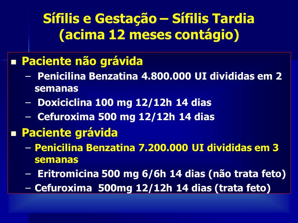 Paciente não grávida – Penicilina Benzatina 4.800.000 UI divididas em 2 semanas – Doxiciclina 100 mg 12/12h 14 dias – Cefuroxima 500 mg 12/12h 14 dias