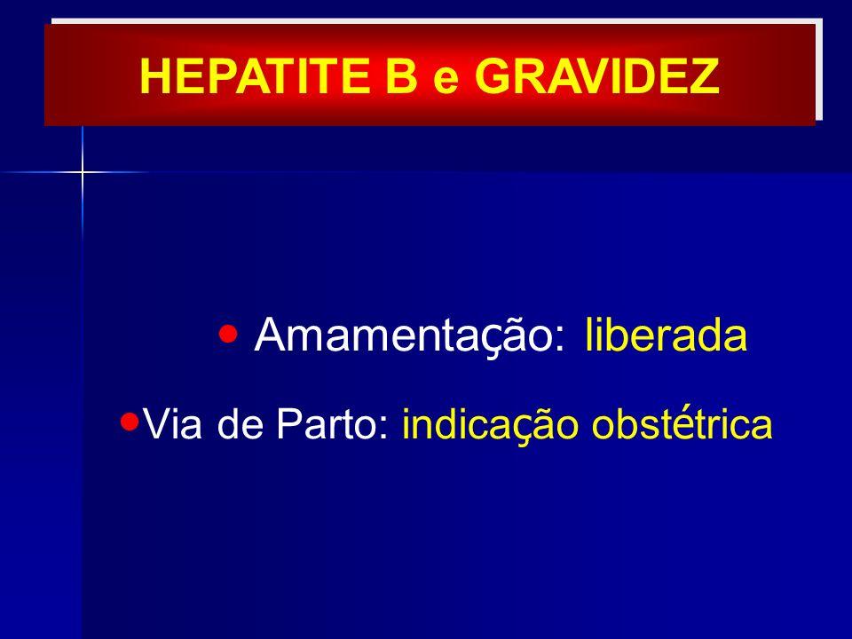 Amamenta ç ão: liberada Via de Parto: indica ç ão obst é trica HEPATITE B e GRAVIDEZ