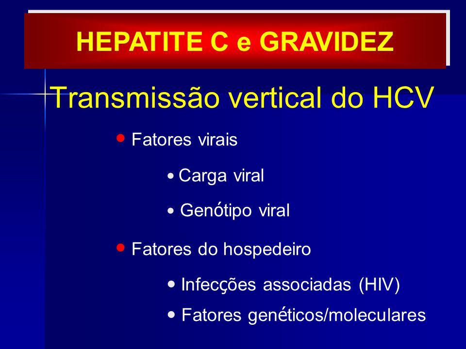 Transmissão vertical do HCV Fatores virais Carga viral Gen ó tipo viral Fatores do hospedeiro Infec ç ões associadas (HIV) Fatores gen é ticos/molecul
