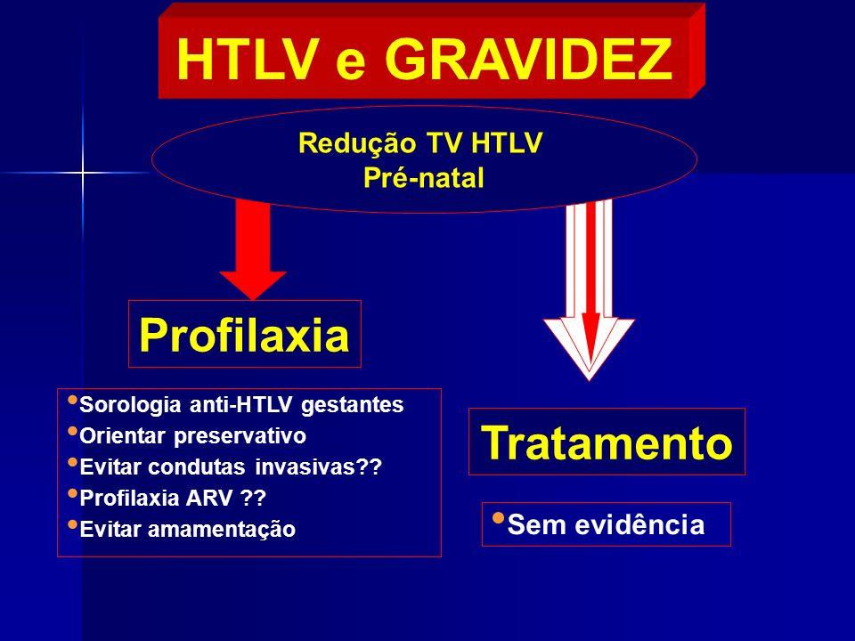 Profilaxia Tratamento Redução TV HTLV Pré-natal HTLV e GRAVIDEZ Sorologia anti-HTLV gestantes Orientar preservativo Evitar condutas invasivas?? Profil