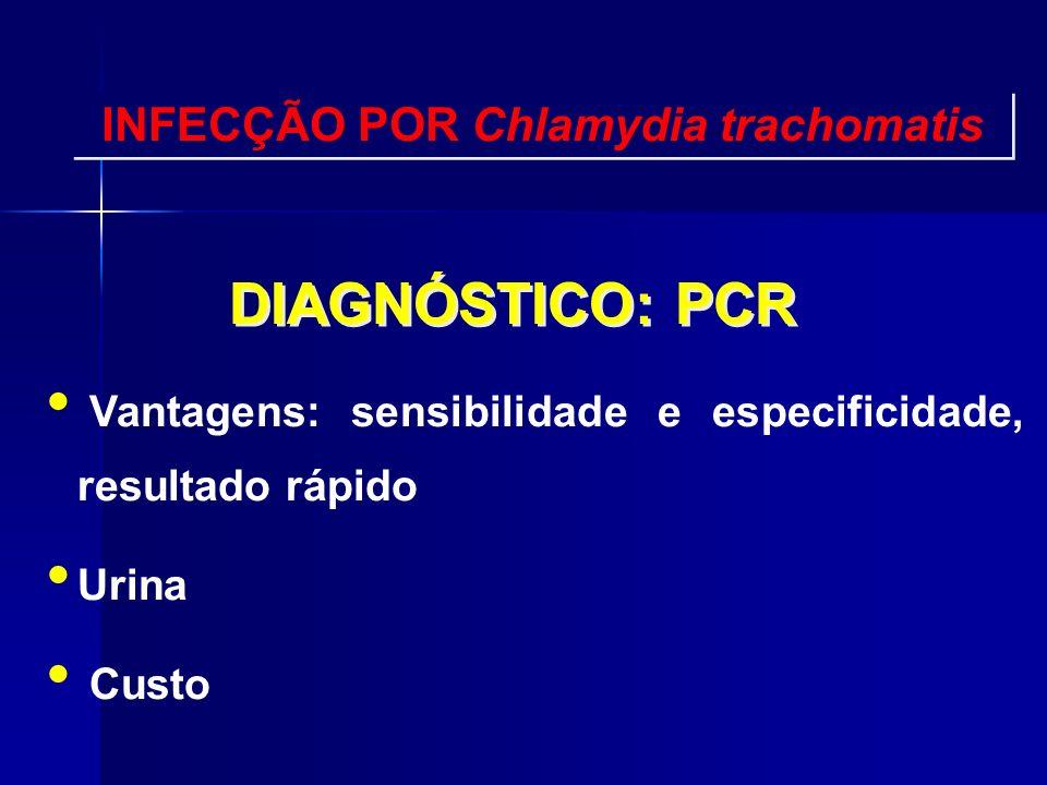 DIAGNÓSTICO: PCR Vantagens: sensibilidade e especificidade, resultado rápido Urina Custo INFECÇÃO POR Chlamydia trachomatis