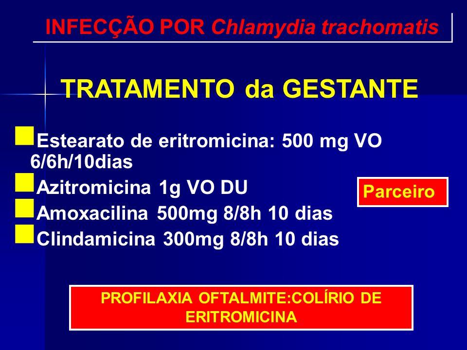 Estearato de eritromicina: 500 mg VO 6/6h/10dias Azitromicina 1g VO DU Amoxacilina 500mg 8/8h 10 dias Clindamicina 300mg 8/8h 10 dias PROFILAXIA OFTAL