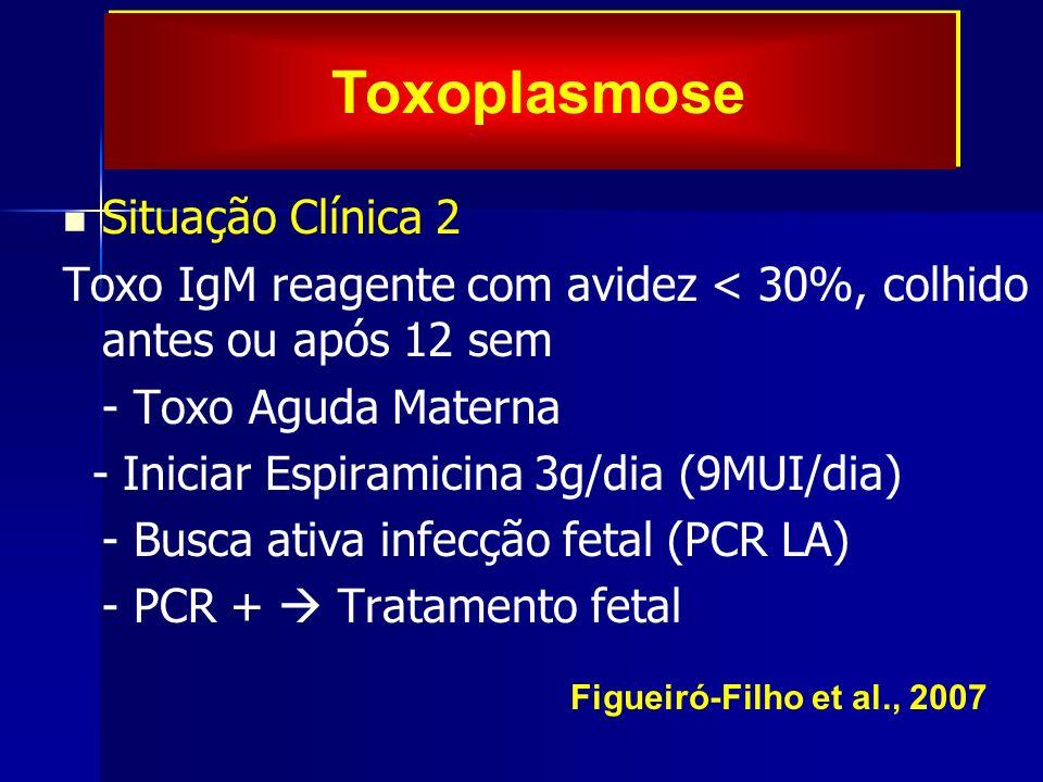 Situação Clínica 2 Toxo IgM reagente com avidez < 30%, colhido antes ou após 12 sem - Toxo Aguda Materna - Iniciar Espiramicina 3g/dia (9MUI/dia) - Bu