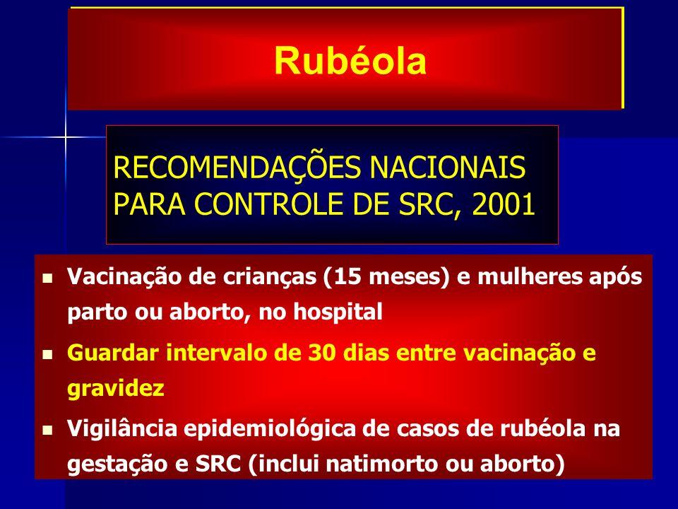 RECOMENDAÇÕES NACIONAIS PARA CONTROLE DE SRC, 2001 Vacinação de crianças (15 meses) e mulheres após parto ou aborto, no hospital Guardar intervalo de
