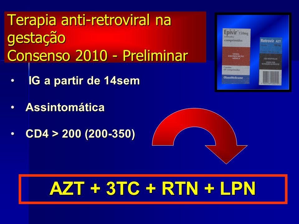 CD4 < 200 ouCD4 < 200 ou CV > 1.000 ouCV > 1.000 ou Sintomática ouSintomática ou Gestação > 28sem independente CD4/CVGestação > 28sem independente CD4/CV Terapia anti-retroviral na gestação Consenso 2010 AZT + 3TC + RTN + LPN