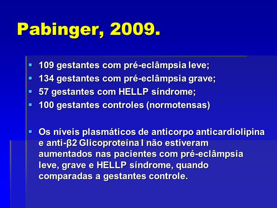 Pabinger, 2009. 109 gestantes com pré-eclâmpsia leve; 109 gestantes com pré-eclâmpsia leve; 134 gestantes com pré-eclâmpsia grave; 134 gestantes com p