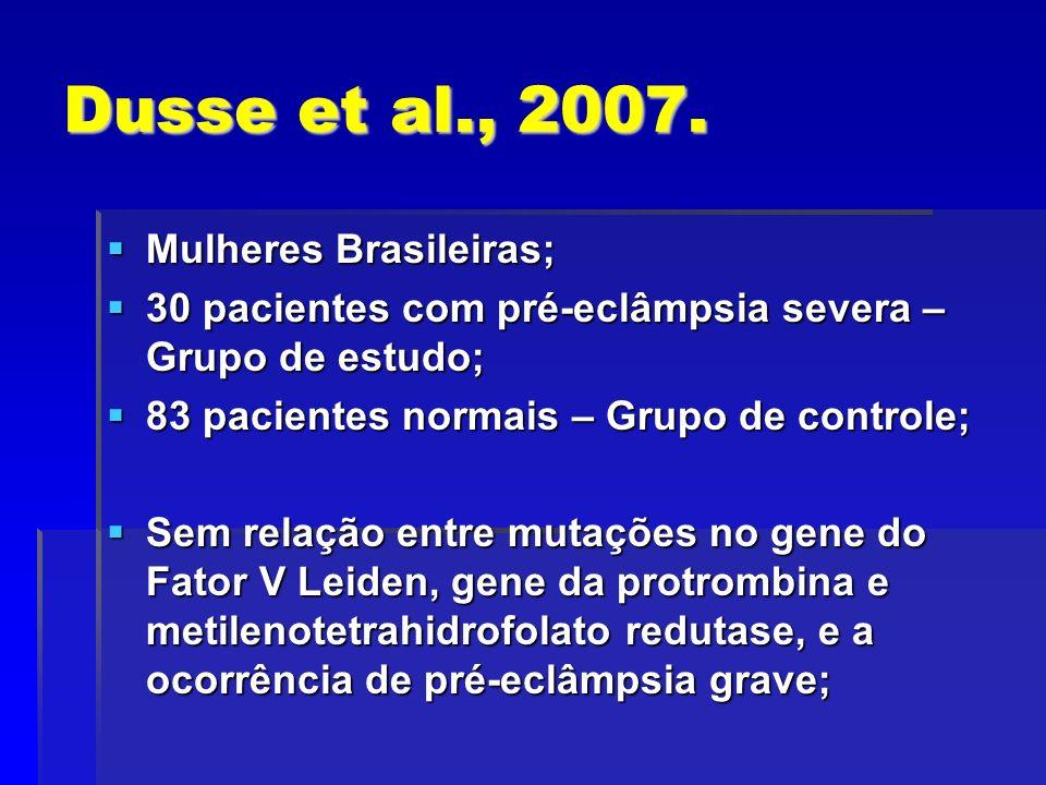 Dusse et al., 2007. Mulheres Brasileiras; Mulheres Brasileiras; 30 pacientes com pré-eclâmpsia severa – Grupo de estudo; 30 pacientes com pré-eclâmpsi