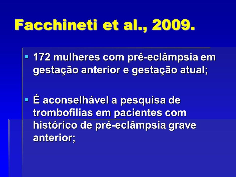 Facchineti et al., 2009. 172 mulheres com pré-eclâmpsia em gestação anterior e gestação atual; 172 mulheres com pré-eclâmpsia em gestação anterior e g
