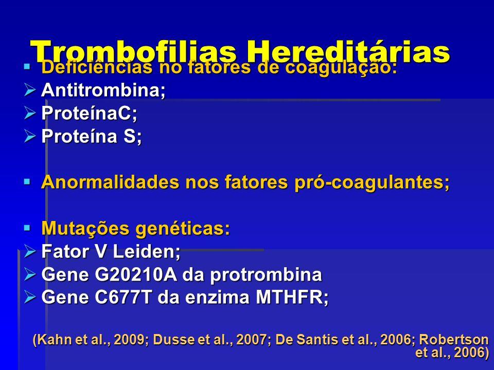 Trombofilias Hereditárias Deficiências no fatores de coagulação: Deficiências no fatores de coagulação: Antitrombina; Antitrombina; ProteínaC; Proteín