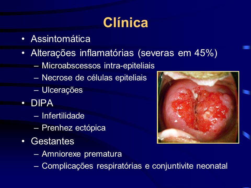 Clínica Assintomática Alterações inflamatórias (severas em 45%) –Microabscessos intra-epiteliais –Necrose de células epiteliais –Ulcerações DIPA –Infe