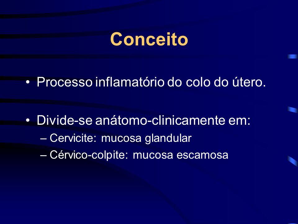 Conceito Processo inflamatório do colo do útero. Divide-se anátomo-clinicamente em: –Cervicite: mucosa glandular –Cérvico-colpite: mucosa escamosa