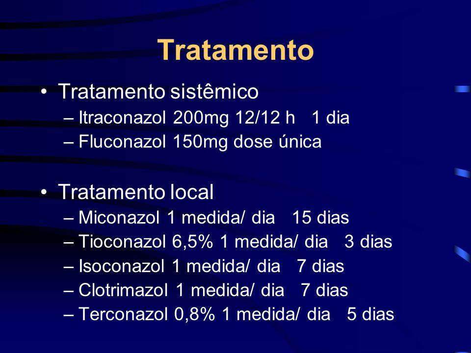Tratamento Tratamento sistêmico –Itraconazol 200mg 12/12 h 1 dia –Fluconazol 150mg dose única Tratamento local –Miconazol 1 medida/ dia 15 dias –Tioco