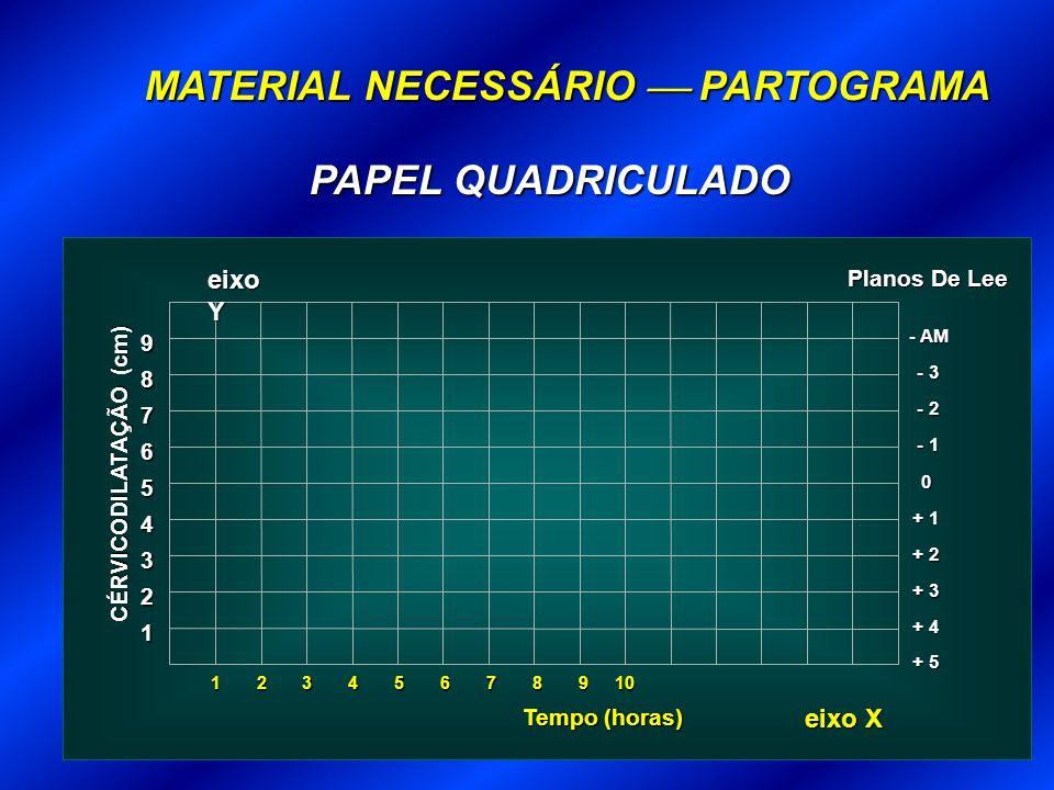 MATERIAL NECESSÁRIO PARTOGRAMA 1 Tempo (horas) 2 3 + 3 4 + 2 5 + 1 6 0 7 - 1 8 - 2 9 - 3 - AM + 4 + 5 CÉRVICODILATAÇÃO (cm) Planos De Lee eixo X eixo Y 23456789101 PAPEL QUADRICULADO
