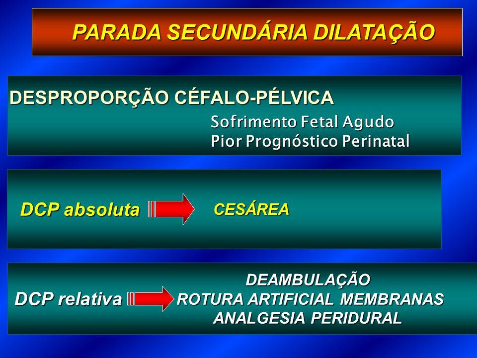 PARADA SECUNDÁRIA DILATAÇÃO DESPROPORÇÃO CÉFALO-PÉLVICA Sofrimento Fetal Agudo Pior Prognóstico Perinatal DCP relativa DEAMBULAÇÃO ROTURA ARTIFICIAL MEMBRANAS ROTURA ARTIFICIAL MEMBRANAS ANALGESIA PERIDURAL DCP absoluta CESÁREA