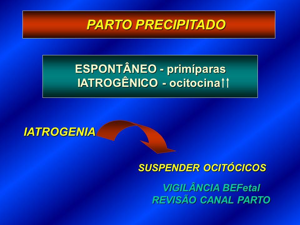 PARTO PRECIPITADO IATROGENIA SUSPENDER OCITÓCICOS VIGILÂNCIA BEFetal REVISÃO CANAL PARTO ESPONTÂNEO - primíparas IATROGÊNICO - ocitocina