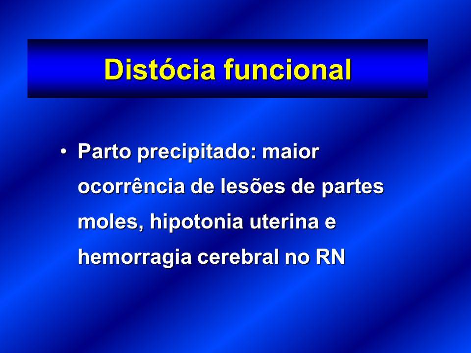Parto precipitado: maior ocorrência de lesões de partes moles, hipotonia uterina e hemorragia cerebral no RNParto precipitado: maior ocorrência de lesões de partes moles, hipotonia uterina e hemorragia cerebral no RN Distócia funcional