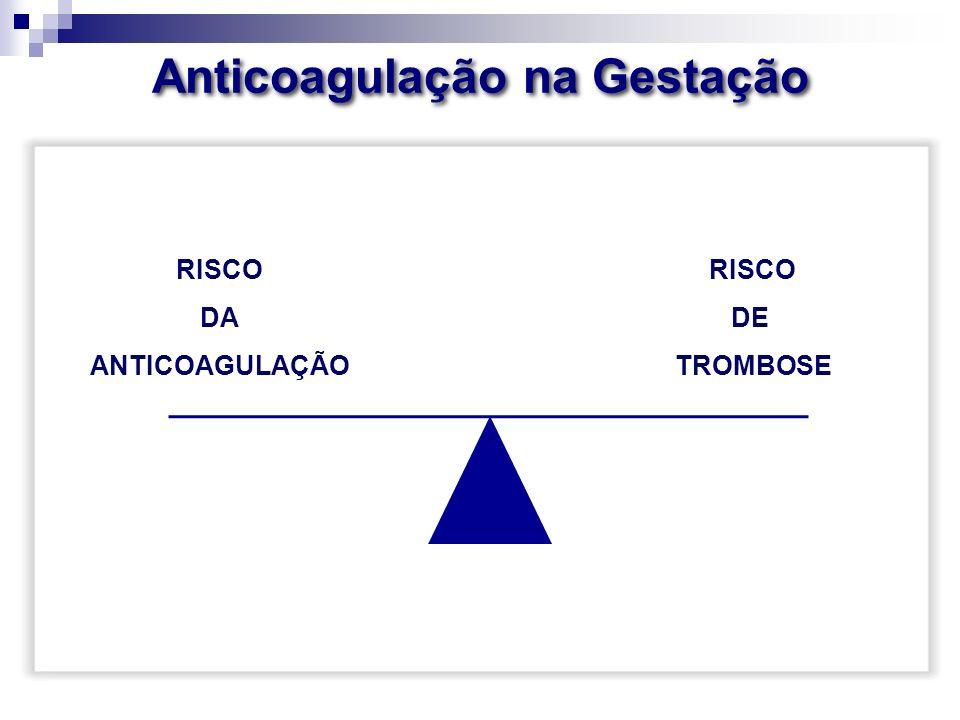Anticoagulação na Gestação RISCO DA ANTICOAGULAÇÃO RISCO DE TROMBOSE