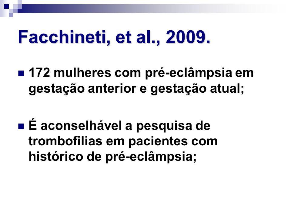 Facchineti, et al., 2009. 172 mulheres com pré-eclâmpsia em gestação anterior e gestação atual; É aconselhável a pesquisa de trombofilias em pacientes