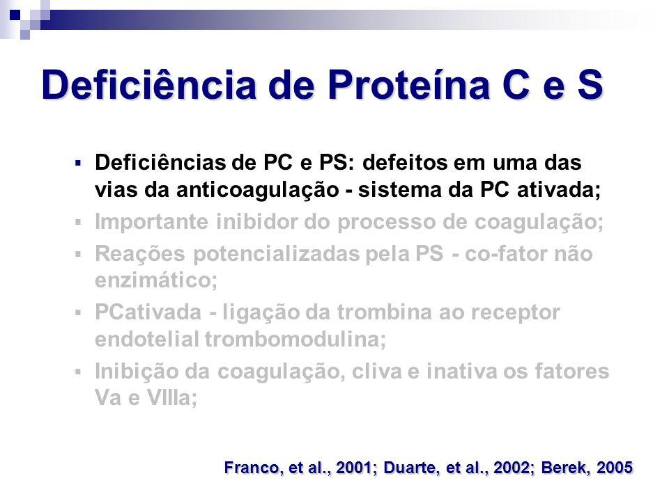 Deficiência de Proteína C e S Deficiências de PC e PS: defeitos em uma das vias da anticoagulação - sistema da PC ativada; Importante inibidor do proc