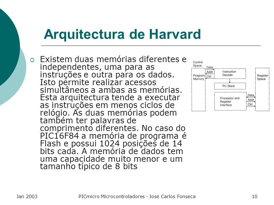 Jan 2003PICmicro Microcontroladores - José Carlos Fonseca10 Arquitectura de Harvard Existem duas memórias diferentes e independentes, uma para as inst