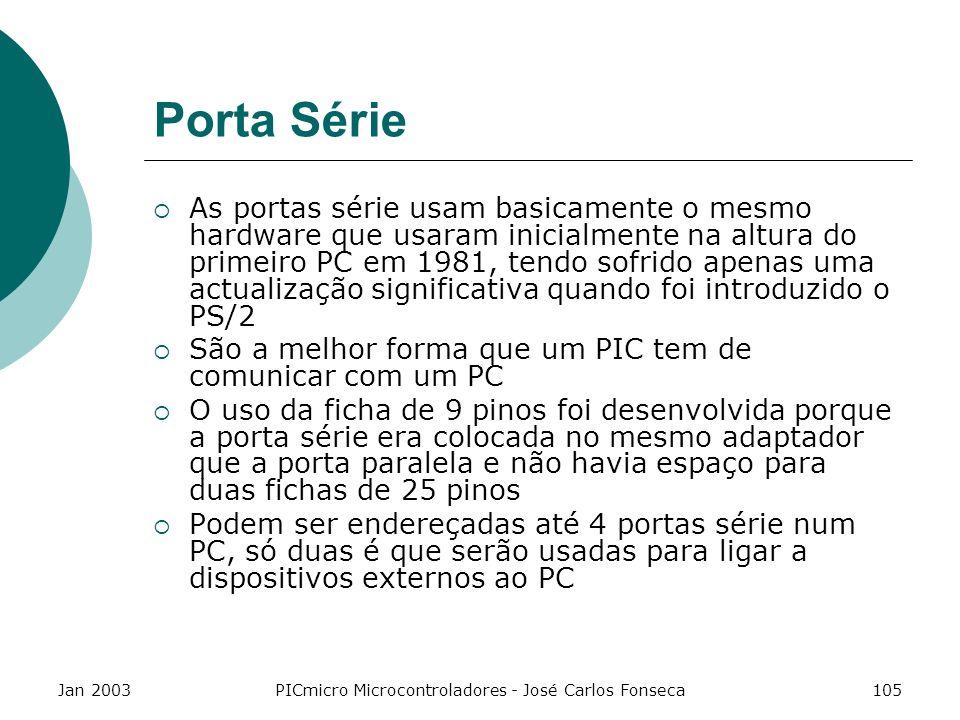 Jan 2003PICmicro Microcontroladores - José Carlos Fonseca105 Porta Série As portas série usam basicamente o mesmo hardware que usaram inicialmente na