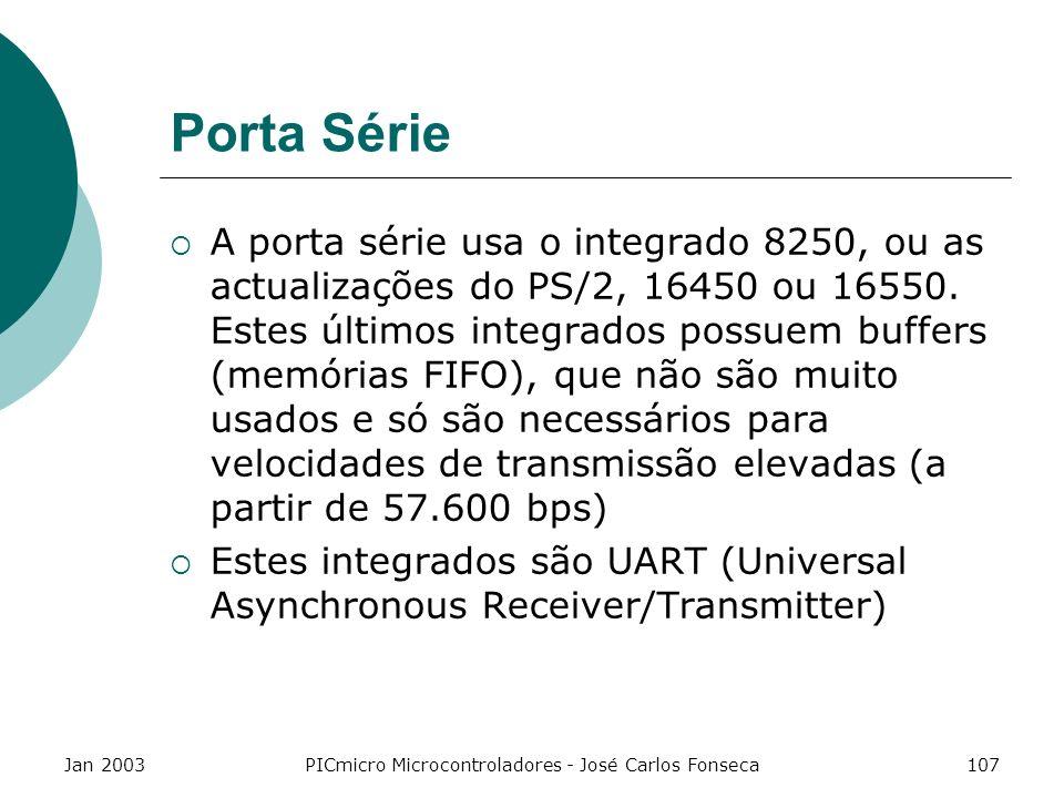 Jan 2003PICmicro Microcontroladores - José Carlos Fonseca107 Porta Série A porta série usa o integrado 8250, ou as actualizações do PS/2, 16450 ou 165