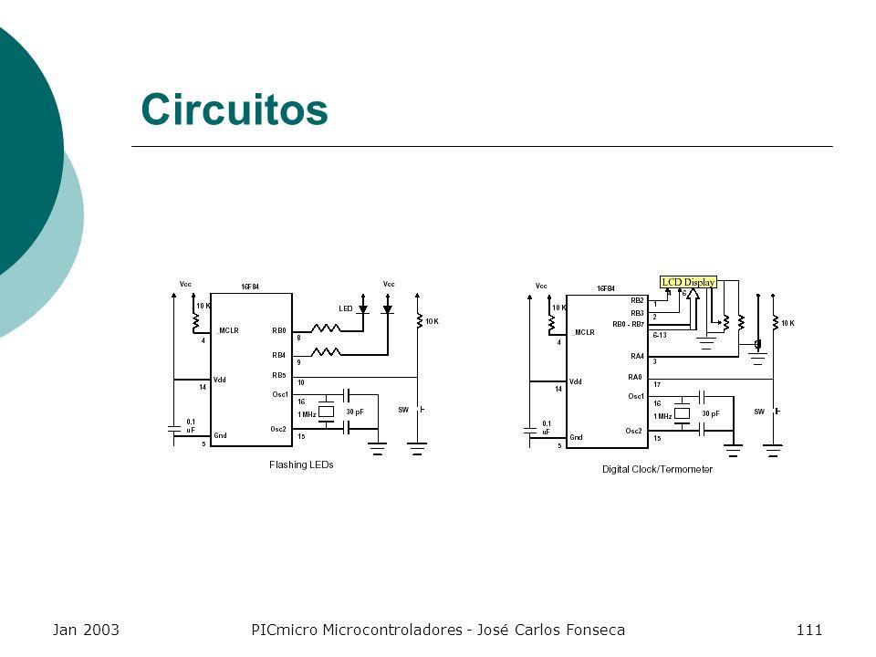 Jan 2003PICmicro Microcontroladores - José Carlos Fonseca111 Circuitos