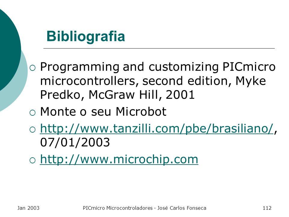 Jan 2003PICmicro Microcontroladores - José Carlos Fonseca112 Bibliografia Programming and customizing PICmicro microcontrollers, second edition, Myke