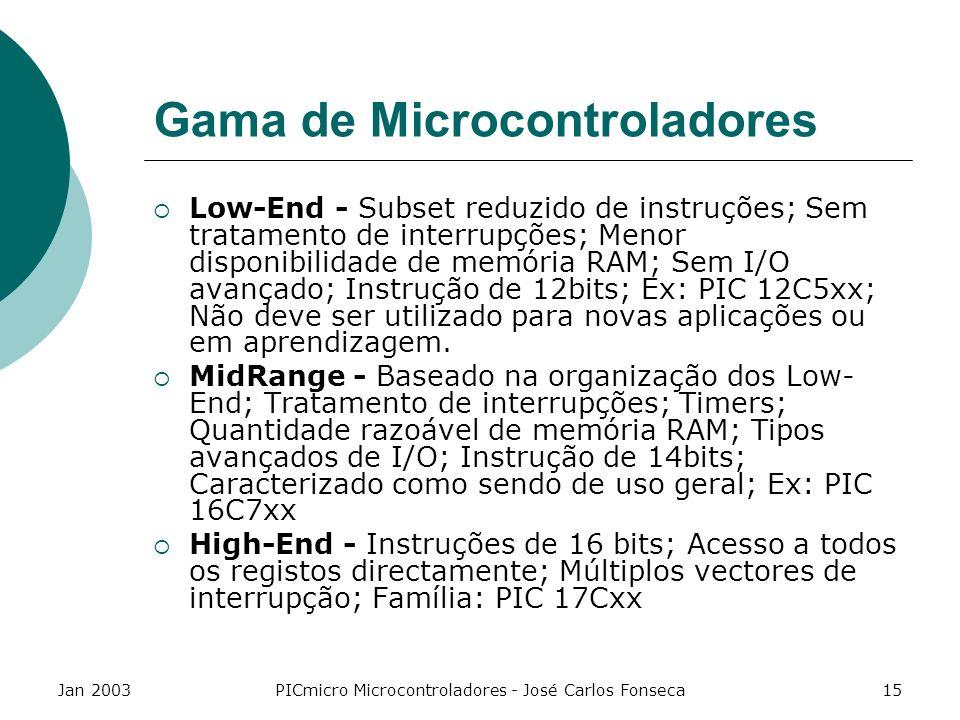 Jan 2003PICmicro Microcontroladores - José Carlos Fonseca15 Gama de Microcontroladores Low-End - Subset reduzido de instruções; Sem tratamento de inte