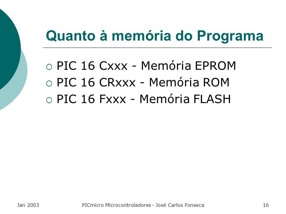 Jan 2003PICmicro Microcontroladores - José Carlos Fonseca16 Quanto à memória do Programa PIC 16 Cxxx - Memória EPROM PIC 16 CRxxx - Memória ROM PIC 16