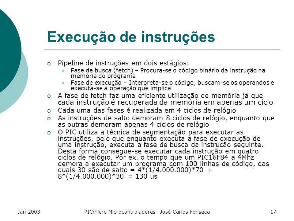 Jan 2003PICmicro Microcontroladores - José Carlos Fonseca17 Execução de instruções Pipeline de instruções em dois estágios: Fase de busca (fetch) – Pr