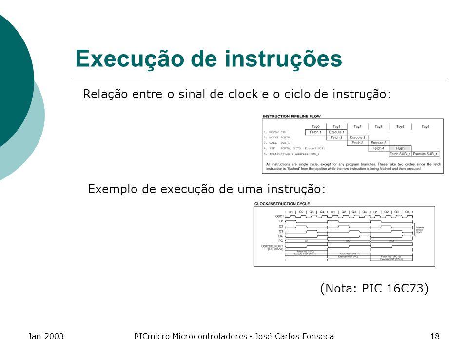 Jan 2003PICmicro Microcontroladores - José Carlos Fonseca18 Execução de instruções Relação entre o sinal de clock e o ciclo de instrução: Exemplo de e