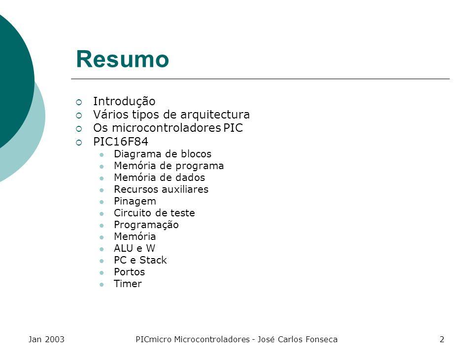 Jan 2003PICmicro Microcontroladores - José Carlos Fonseca2 Resumo Introdução Vários tipos de arquitectura Os microcontroladores PIC PIC16F84 Diagrama
