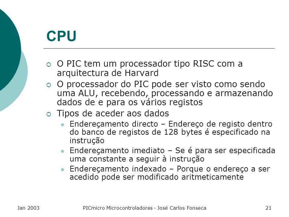 Jan 2003PICmicro Microcontroladores - José Carlos Fonseca21 CPU O PIC tem um processador tipo RISC com a arquitectura de Harvard O processador do PIC