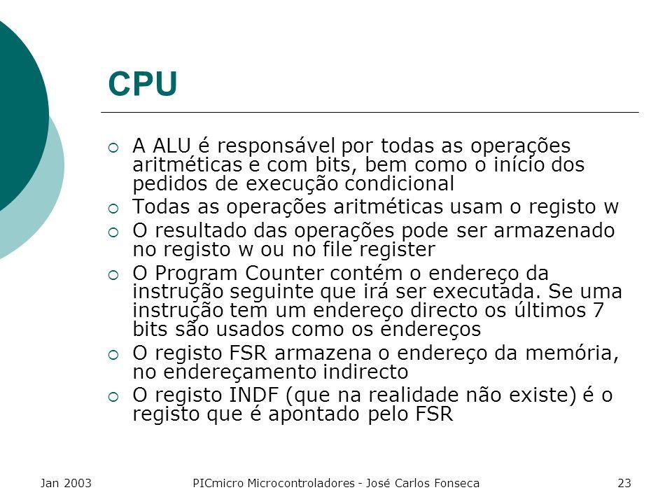 Jan 2003PICmicro Microcontroladores - José Carlos Fonseca23 CPU A ALU é responsável por todas as operações aritméticas e com bits, bem como o início d