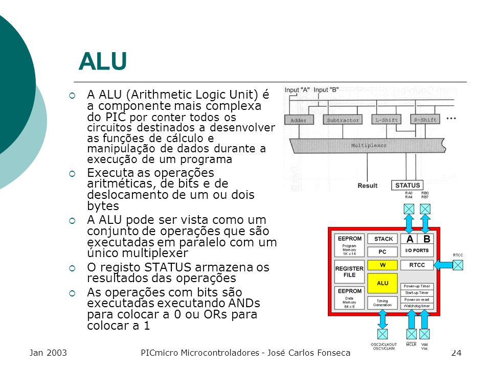 Jan 2003PICmicro Microcontroladores - José Carlos Fonseca24 ALU A ALU (Arithmetic Logic Unit) é a componente mais complexa do PIC por conter todos os