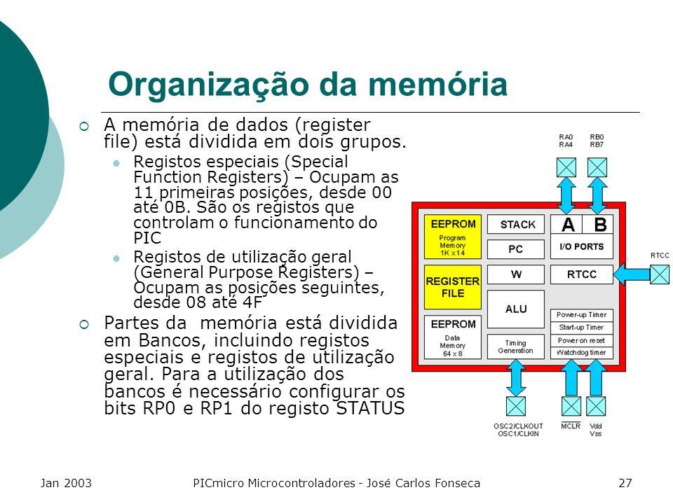 Jan 2003PICmicro Microcontroladores - José Carlos Fonseca27 Organização da memória A memória de dados (register file) está dividida em dois grupos. Re
