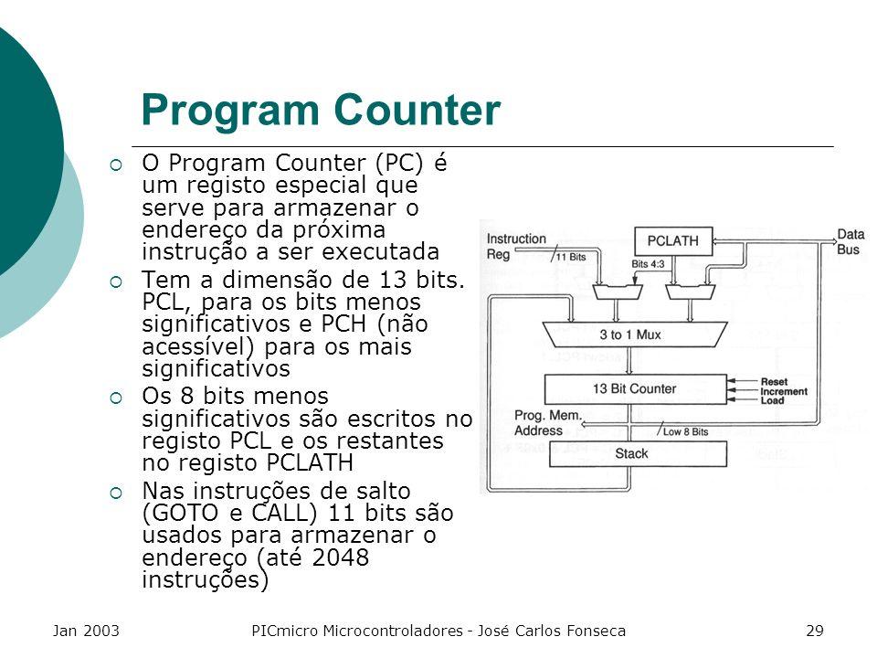 Jan 2003PICmicro Microcontroladores - José Carlos Fonseca29 Program Counter O Program Counter (PC) é um registo especial que serve para armazenar o en