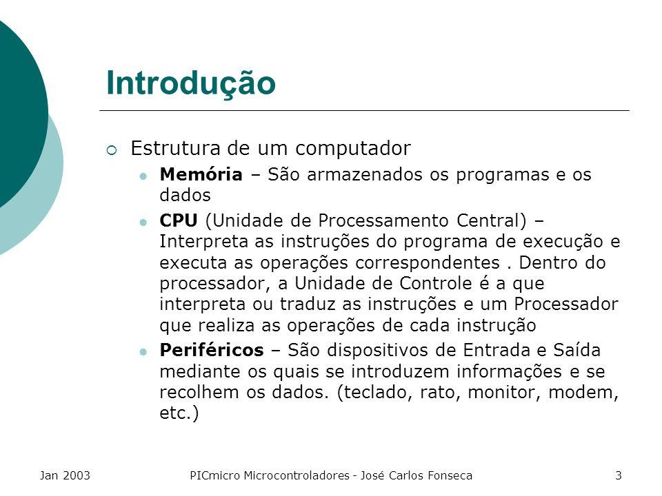 Jan 2003PICmicro Microcontroladores - José Carlos Fonseca14 Características das famílias de PICS ProdutoFamíliaExec./instruçã o Nº de instruções PIC12CXXXGama anã (básica e média de 8 pinos) 1000ns/4Mhz; 10 Mhz 33/35 instruções PIC16C5XGama básica200ns / 20Mhz33 inst.