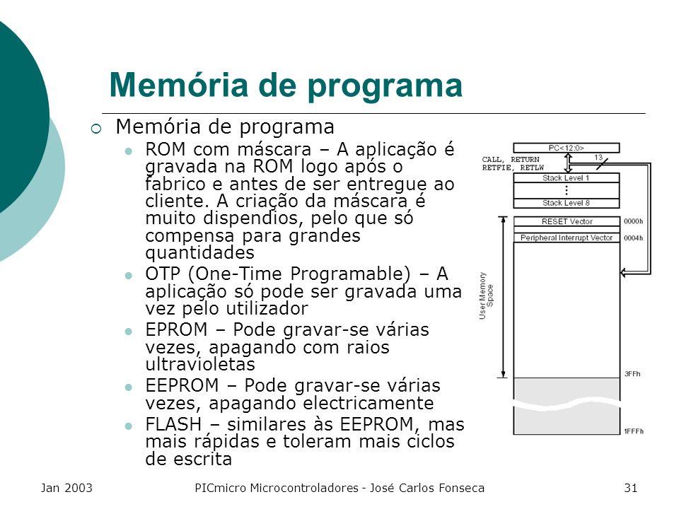 Jan 2003PICmicro Microcontroladores - José Carlos Fonseca31 Memória de programa ROM com máscara – A aplicação é gravada na ROM logo após o fabrico e a