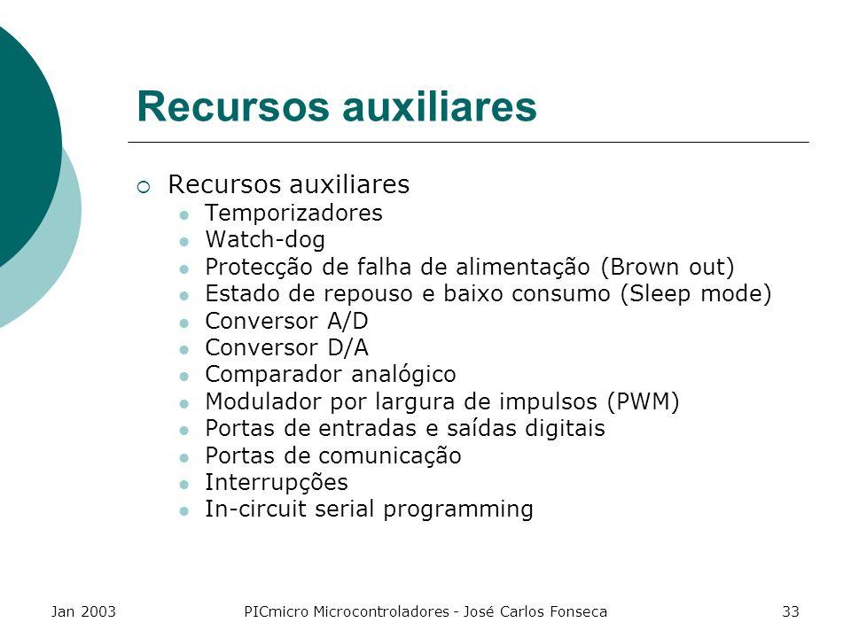Jan 2003PICmicro Microcontroladores - José Carlos Fonseca33 Recursos auxiliares Temporizadores Watch-dog Protecção de falha de alimentação (Brown out)