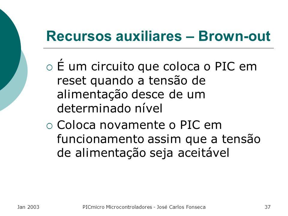 Jan 2003PICmicro Microcontroladores - José Carlos Fonseca37 Recursos auxiliares – Brown-out É um circuito que coloca o PIC em reset quando a tensão de