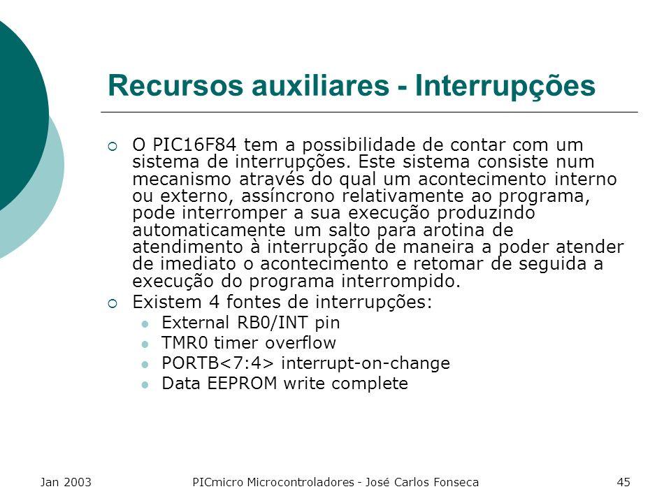 Jan 2003PICmicro Microcontroladores - José Carlos Fonseca45 Recursos auxiliares - Interrupções O PIC16F84 tem a possibilidade de contar com um sistema