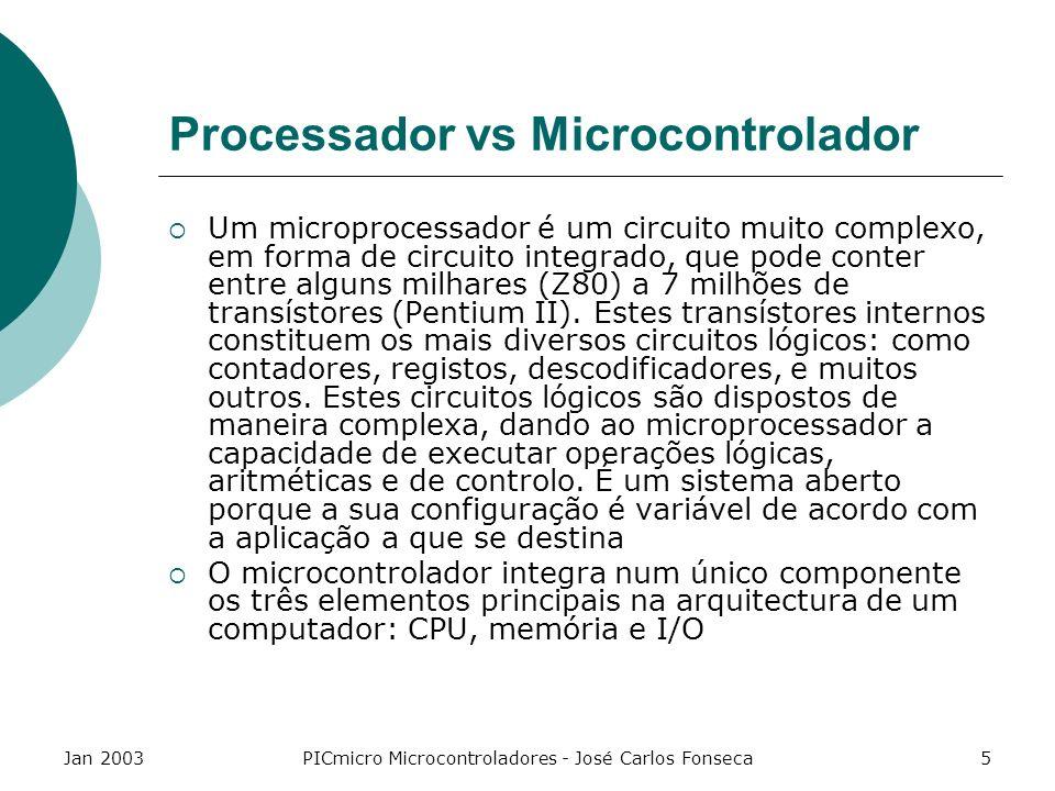 Jan 2003PICmicro Microcontroladores - José Carlos Fonseca6 Processador vs Microcontrolador Os microcontroladores dispõem sempre de I/O digital ou analógica, o que não se verifica nos microprocessadores A memória interna só de leitura verifica-se apenas nos microcontroladores (pode ser ROM, já programada de fábrica, pode ser programável pelo utlizador ou pode mesmo não existir internamente) O barramento de dados dos microprocessadores tem um maior número de bits, uma vez que a sua área de aplicação é mais exigente ao nível do processamento da informação; Dos microcontroladores, por outro lado, espera-se uma aplicação mais diversificada e menos exigente nesse ponto; São ainda pouco utilizados microcontroladores de 16 bits