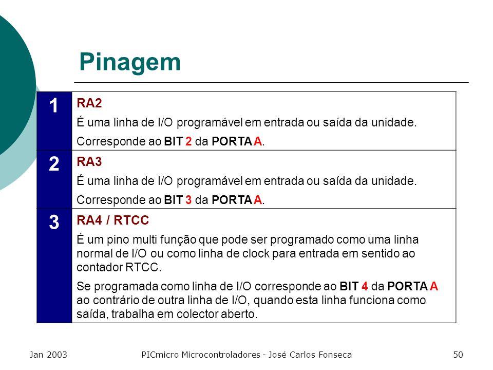 Jan 2003PICmicro Microcontroladores - José Carlos Fonseca50 Pinagem 1 RA2 É uma linha de I/O programável em entrada ou saída da unidade. Corresponde a