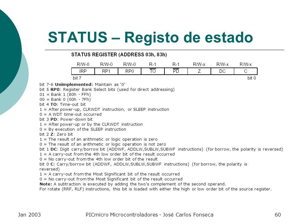 Jan 2003PICmicro Microcontroladores - José Carlos Fonseca60 STATUS – Registo de estado bit 7-6 Unimplemented: Maintain as 0 bit 5 RP0: Register Bank S