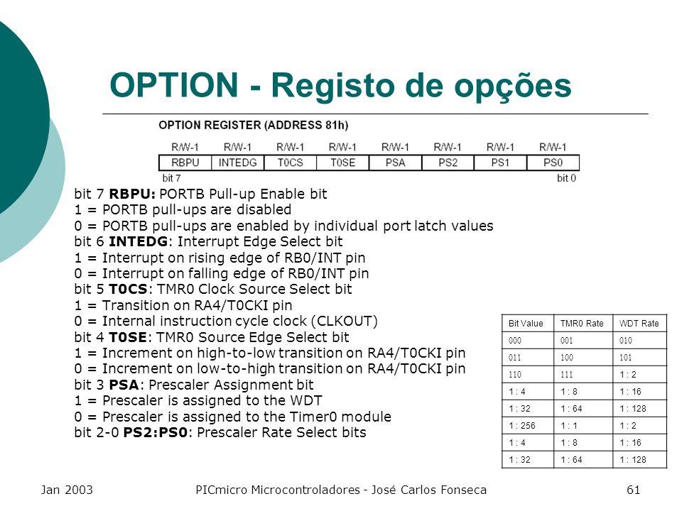 Jan 2003PICmicro Microcontroladores - José Carlos Fonseca61 OPTION - Registo de opções bit 7 RBPU: PORTB Pull-up Enable bit 1 = PORTB pull-ups are dis