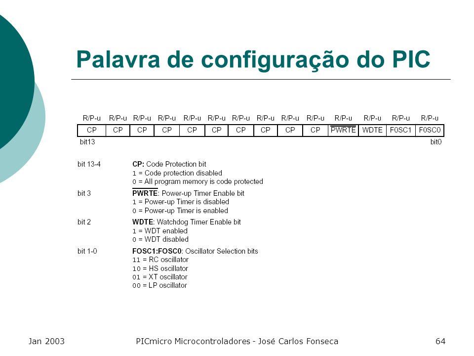 Jan 2003PICmicro Microcontroladores - José Carlos Fonseca64 Palavra de configuração do PIC