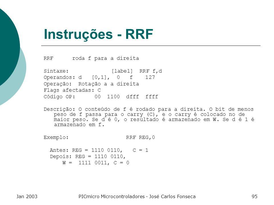Jan 2003PICmicro Microcontroladores - José Carlos Fonseca95 Instruções - RRF RRF roda f para a direita Sintaxe: [label] RRF f,d Operandos: d [0,1], 0