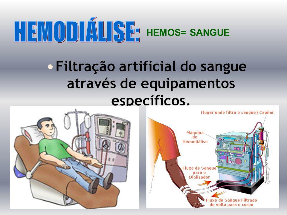 Filtração artificial do sangue através de equipamentos específicos. HEMOS= SANGUE
